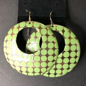 Jewelry - 🎉HOST PICK🎉 Geometric Mint Green & Gold Earrings